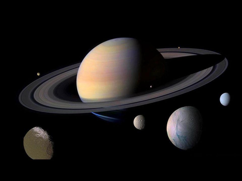 vznikl poblíž Jupitera, dnes vzdálen 9,5 AU od Slunce dnes rezonance s Jupiterem 5:2, dříve během vývoje 2:1, což mělo podstatný vliv na vypuzení planetesimál na okraj Sluneční soustavy obdařen největším prstencem ve Sluneční soustavě prstenec rozdělen: A, Cassiniho dělení, B, C, D, E, F, G velikost částic 0,01 – 1 m atmosféra – 96 % H 2, 3,5 % He rychlost atmosférického proudění až 1800 km/h Planety II Saturn