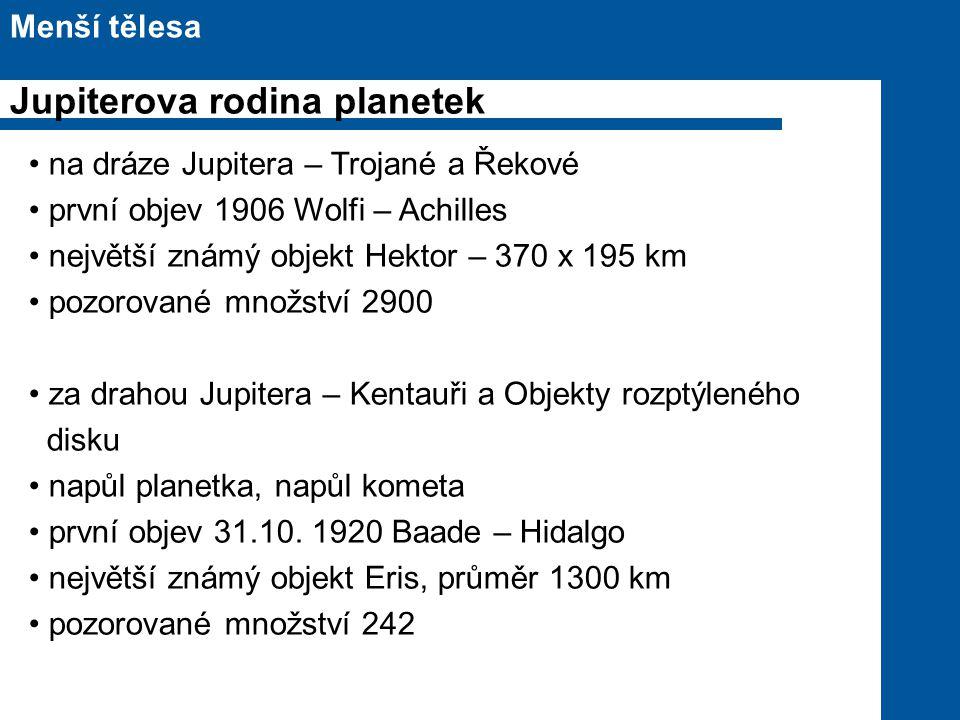 na dráze Jupitera – Trojané a Řekové první objev 1906 Wolfi – Achilles největší známý objekt Hektor – 370 x 195 km pozorované množství 2900 za drahou Jupitera – Kentauři a Objekty rozptýleného disku napůl planetka, napůl kometa první objev 31.10.