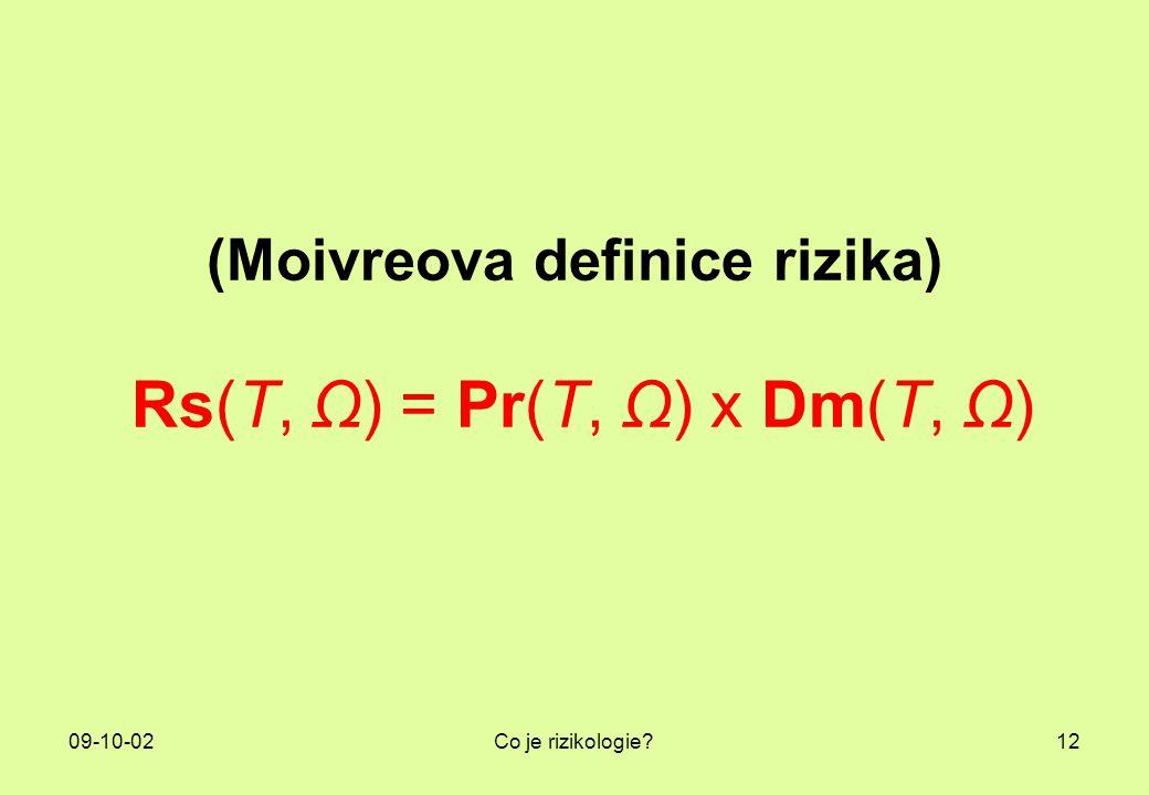 09-10-02Co je rizikologie?12 (Moivreova definice rizika) Rs(T, Ω) = Pr(T, Ω) x Dm(T, Ω)