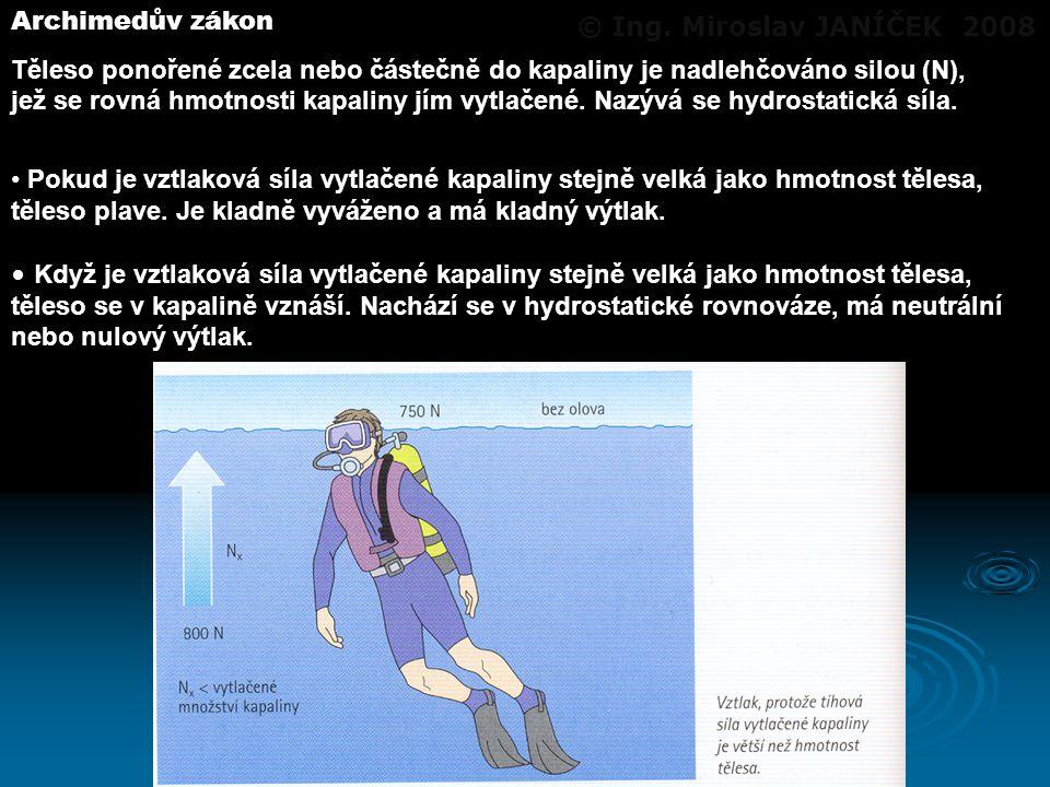 Archimedův zákon Těleso ponořené zcela nebo částečně do kapaliny je nadlehčováno silou (N), jež se rovná hmotnosti kapaliny jím vytlačené. Nazývá se h