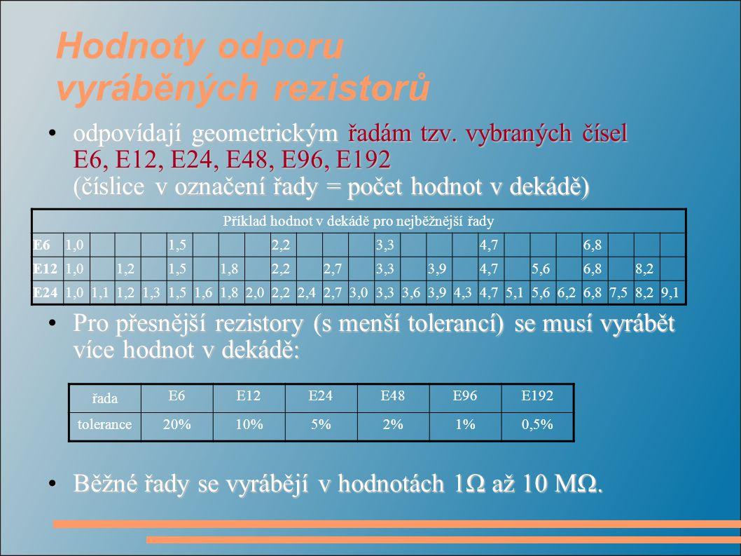Hodnoty odporu vyráběných rezistorů odpovídají geometrickým řadám tzv. vybraných čísel E6, E12, E24, E48, E96, E192 (číslice v označení řady = počet h