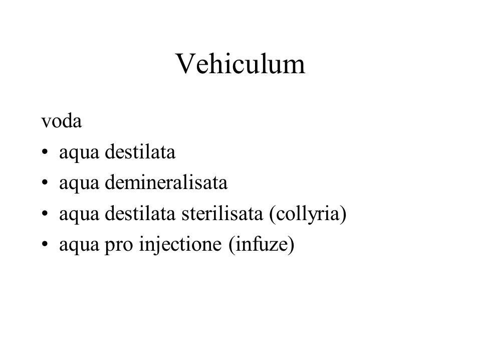 Vehiculum voda aqua destilata aqua demineralisata aqua destilata sterilisata (collyria) aqua pro injectione (infuze)