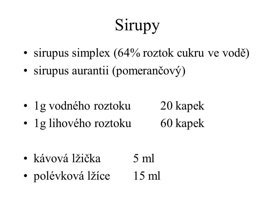 Sirupy sirupus simplex (64% roztok cukru ve vodě) sirupus aurantii (pomerančový) 1g vodného roztoku20 kapek 1g lihového roztoku60 kapek kávová lžička