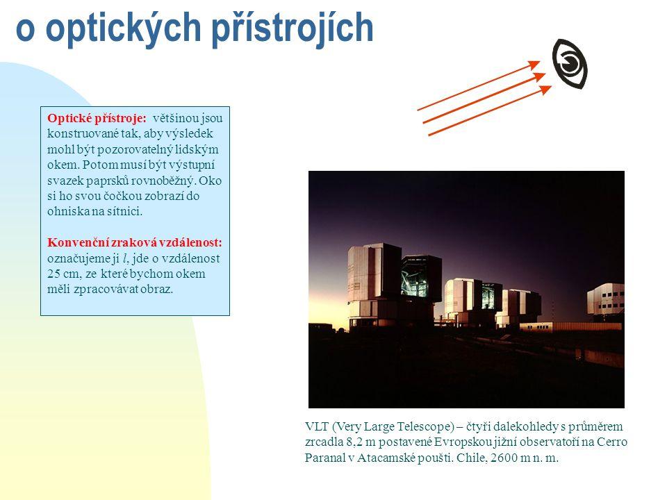 o optických přístrojích Optické přístroje: většinou jsou konstruované tak, aby výsledek mohl být pozorovatelný lidským okem. Potom musí být výstupní s