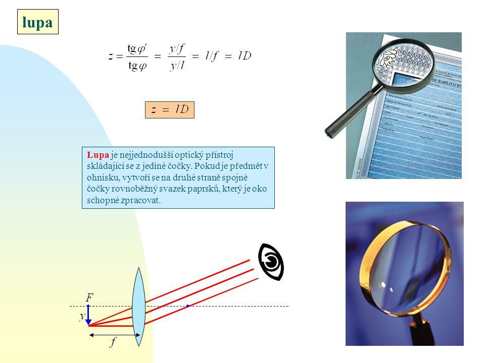 lupa Lupa je nejjednodušší optický přístroj skládající se z jediné čočky. Pokud je předmět v ohnisku, vytvoří se na druhé straně spojné čočky rovnoběž
