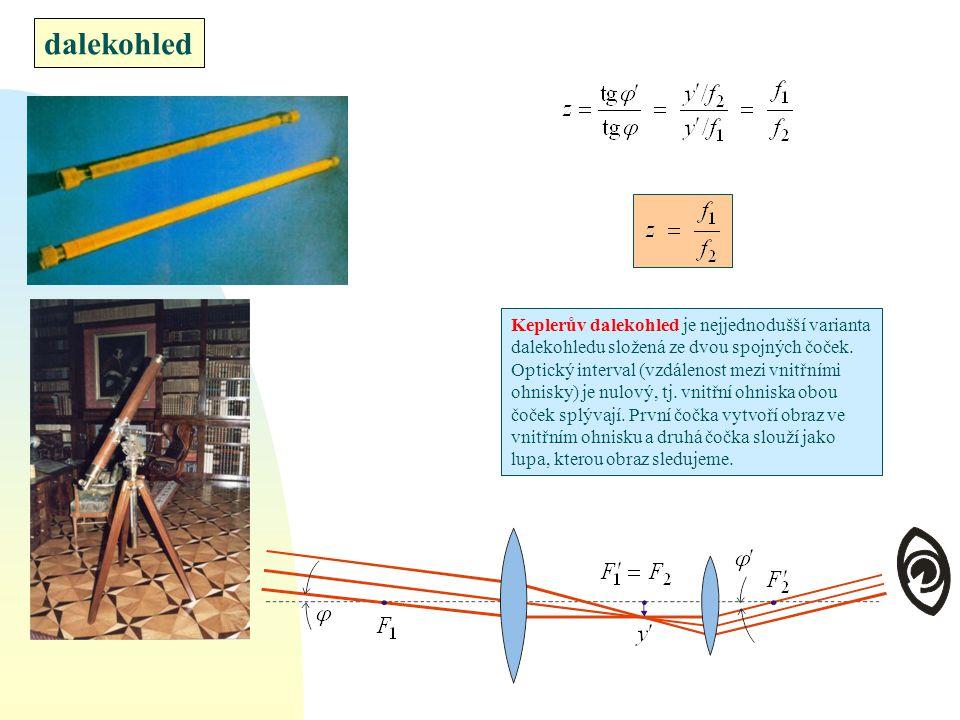 dalekohled Keplerův dalekohled je nejjednodušší varianta dalekohledu složená ze dvou spojných čoček. Optický interval (vzdálenost mezi vnitřními ohnis