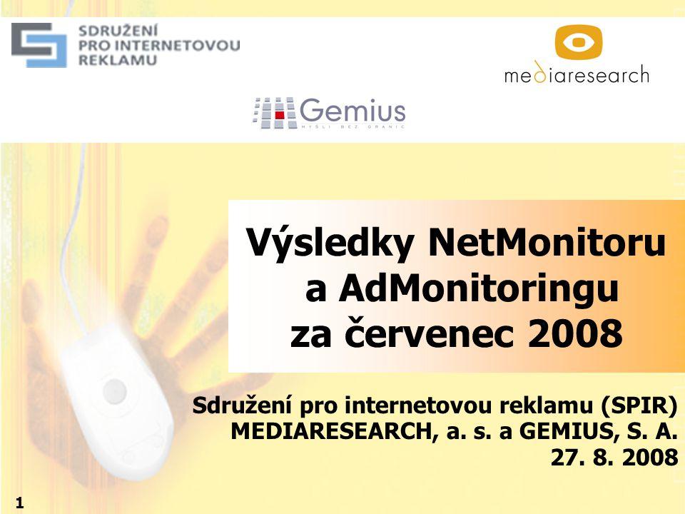 Výsledky NetMonitoru a AdMonitoringu za červenec 2008 Sdružení pro internetovou reklamu (SPIR) MEDIARESEARCH, a. s. a GEMIUS, S. A. 27. 8. 2008 1