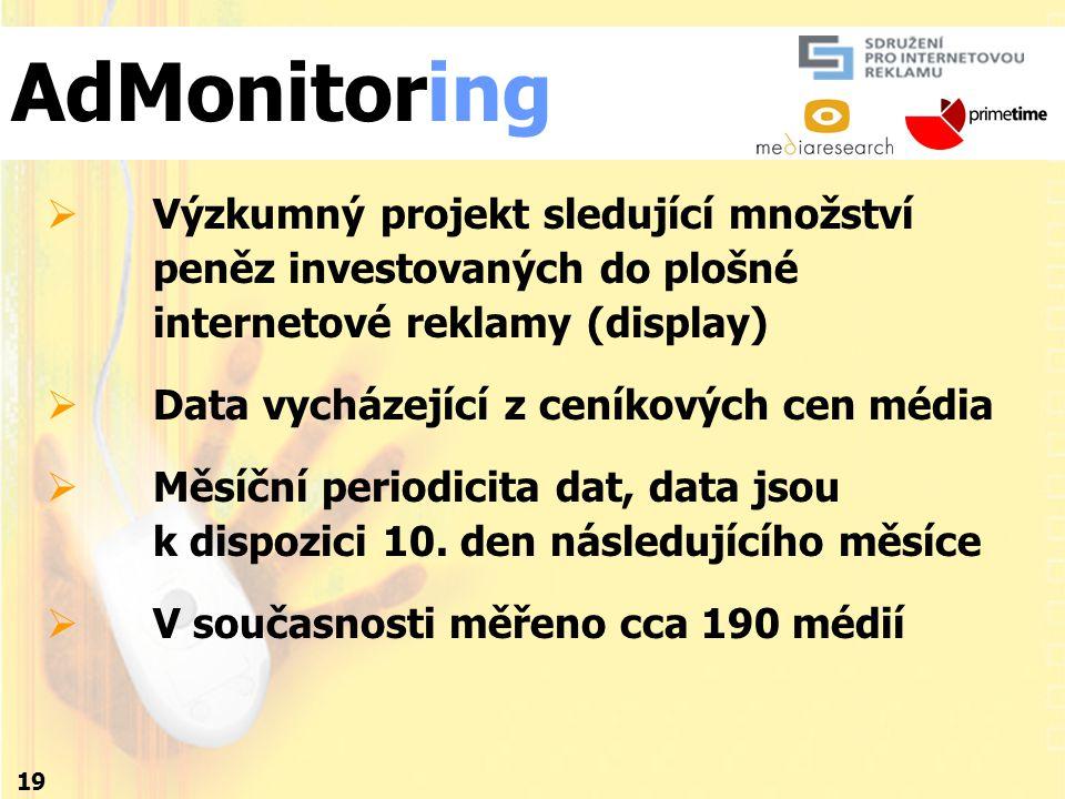 19  Výzkumný projekt sledující množství peněz investovaných do plošné internetové reklamy (display)  Data vycházející z ceníkových cen média  Měsíční periodicita dat, data jsou k dispozici 10.