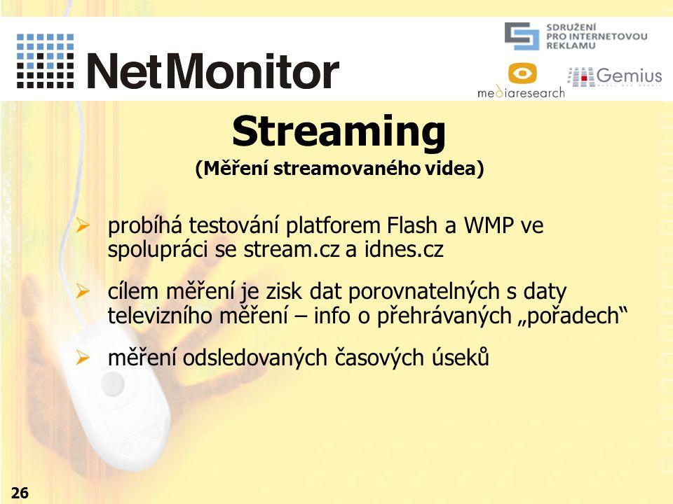 """Streaming (Měření streamovaného videa) 26  probíhá testování platforem Flash a WMP ve spolupráci se stream.cz a idnes.cz  cílem měření je zisk dat porovnatelných s daty televizního měření – info o přehrávaných """"pořadech  měření odsledovaných časových úseků"""
