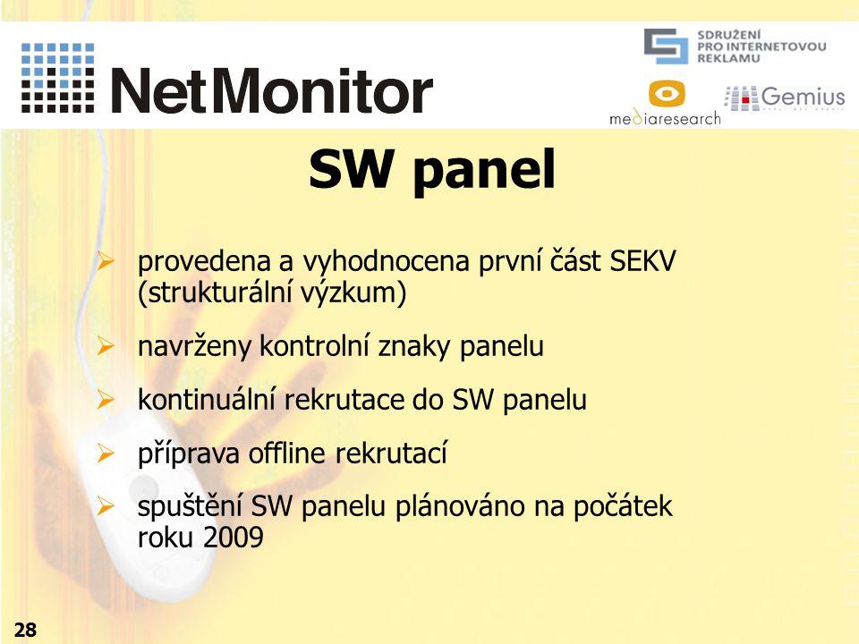 28 SW panel  provedena a vyhodnocena první část SEKV (strukturální výzkum)  navrženy kontrolní znaky panelu  kontinuální rekrutace do SW panelu  příprava offline rekrutací  spuštění SW panelu plánováno na počátek roku 2009