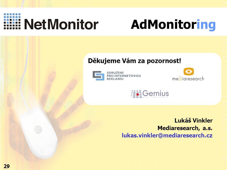 Děkujeme Vám za pozornost! 29 Lukáš Vinkler Mediaresearch, a.s. lukas.vinkler@mediaresearch.cz AdMonitoring