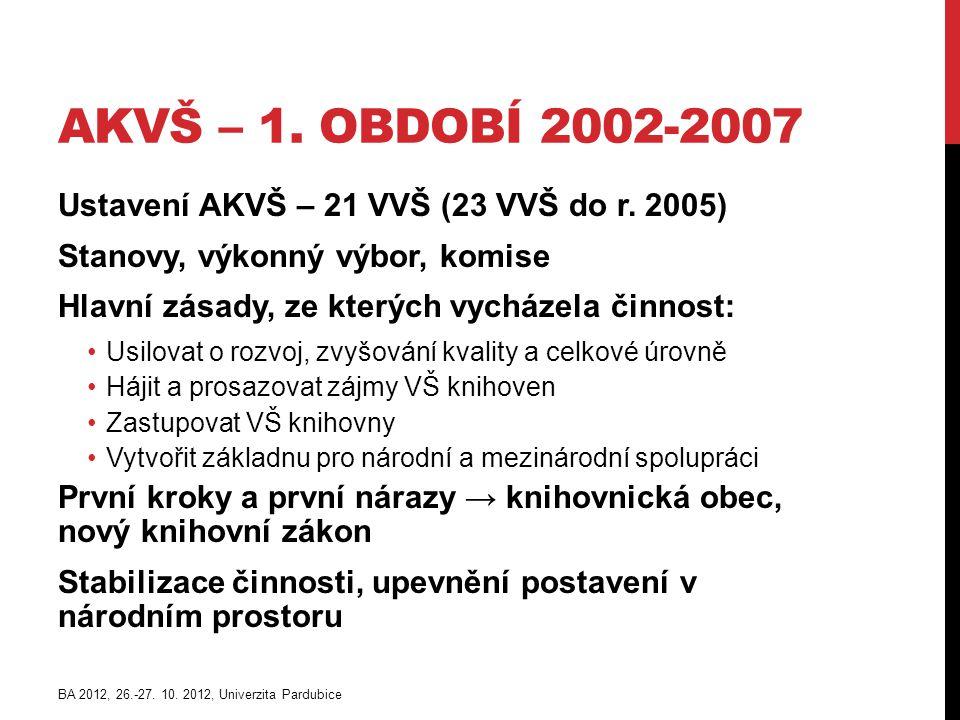 AKVŠ – 1. OBDOBÍ 2002-2007 Ustavení AKVŠ – 21 VVŠ (23 VVŠ do r.