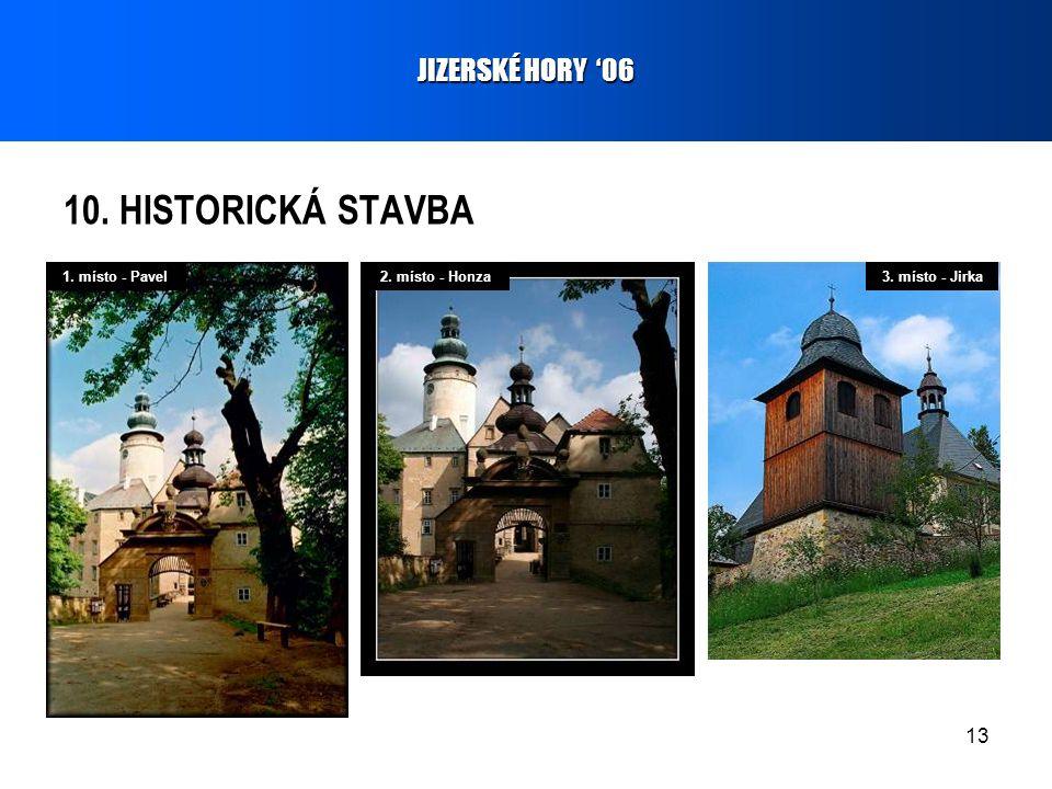 13 10. HISTORICKÁ STAVBA JIZERSKÉ HORY '06 1. místo - Pavel2. místo - Honza3. místo - Jirka
