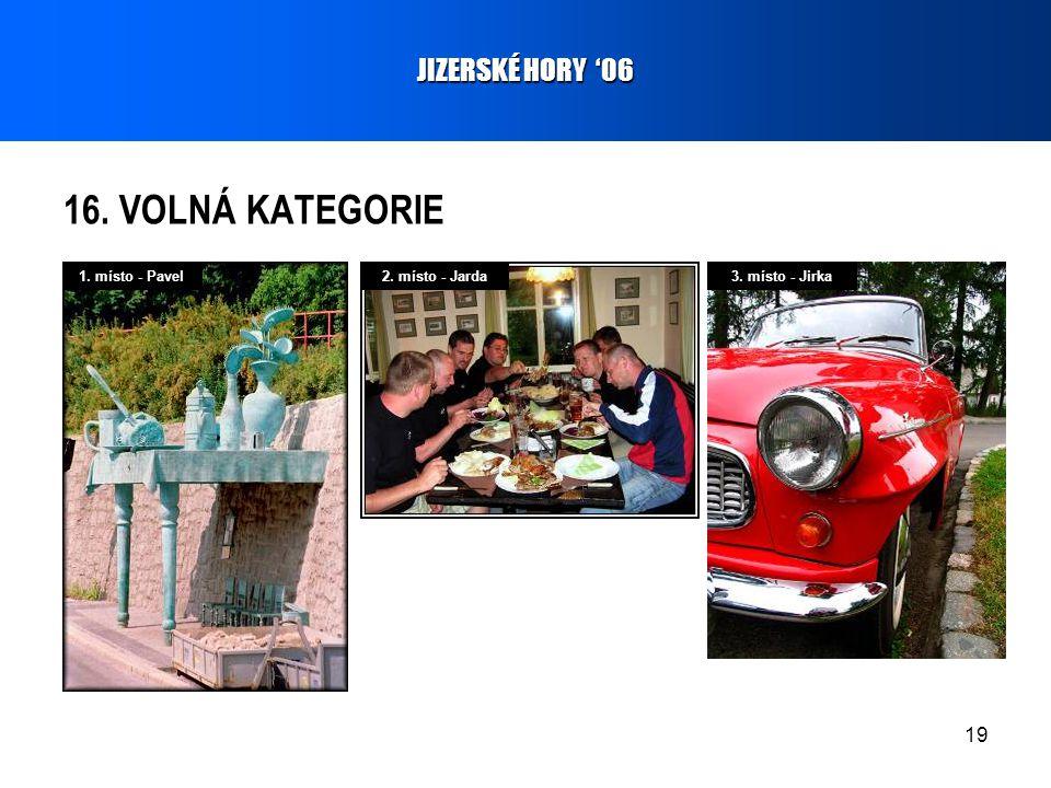19 16. VOLNÁ KATEGORIE JIZERSKÉ HORY '06 1. místo - Pavel2. místo - Jarda3. místo - Jirka