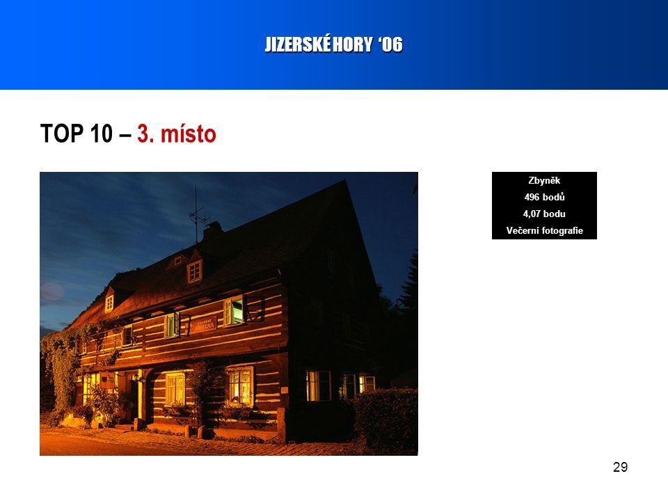 29 TOP 10 – 3. místo JIZERSKÉ HORY '06 Zbyněk 496 bodů 4,07 bodu Večerní fotografie