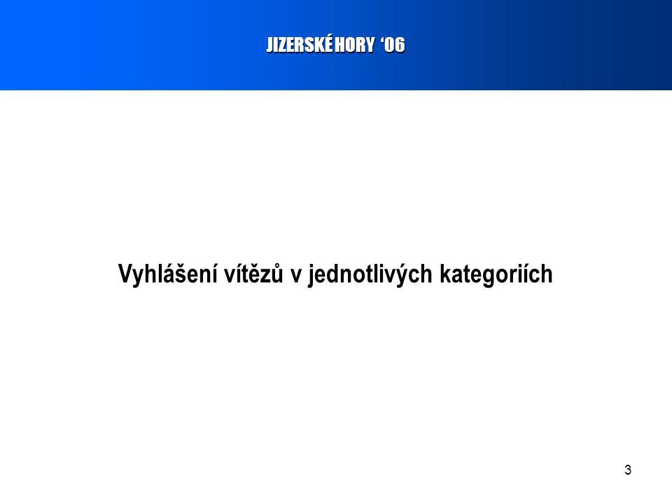 3 Vyhlášení vítězů v jednotlivých kategoriích JIZERSKÉ HORY '06