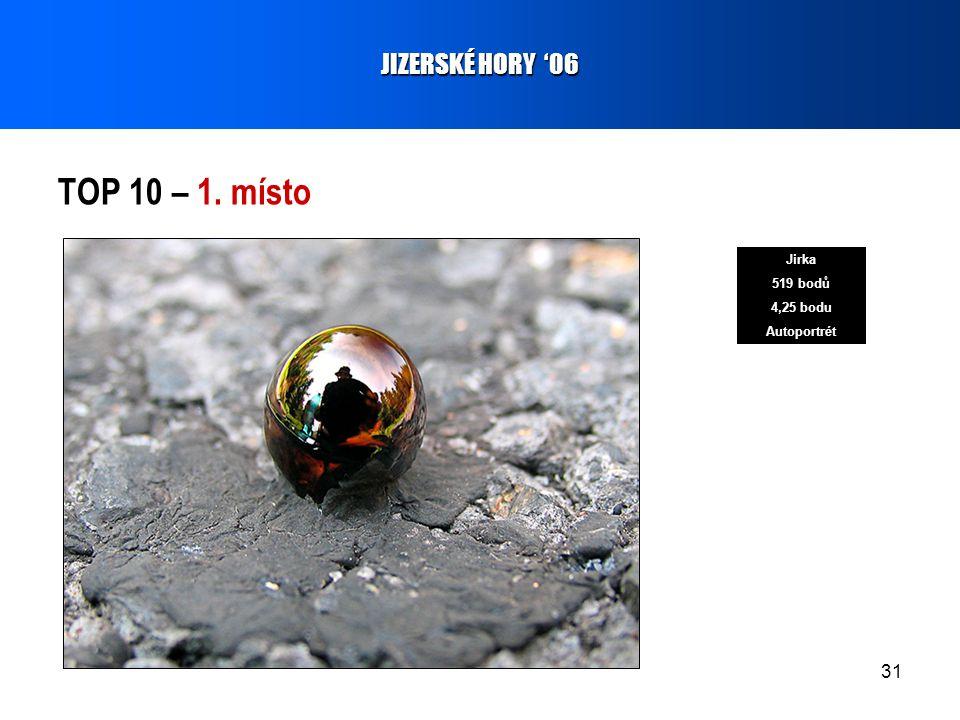 31 TOP 10 – 1. místo JIZERSKÉ HORY '06 Jirka 519 bodů 4,25 bodu Autoportrét