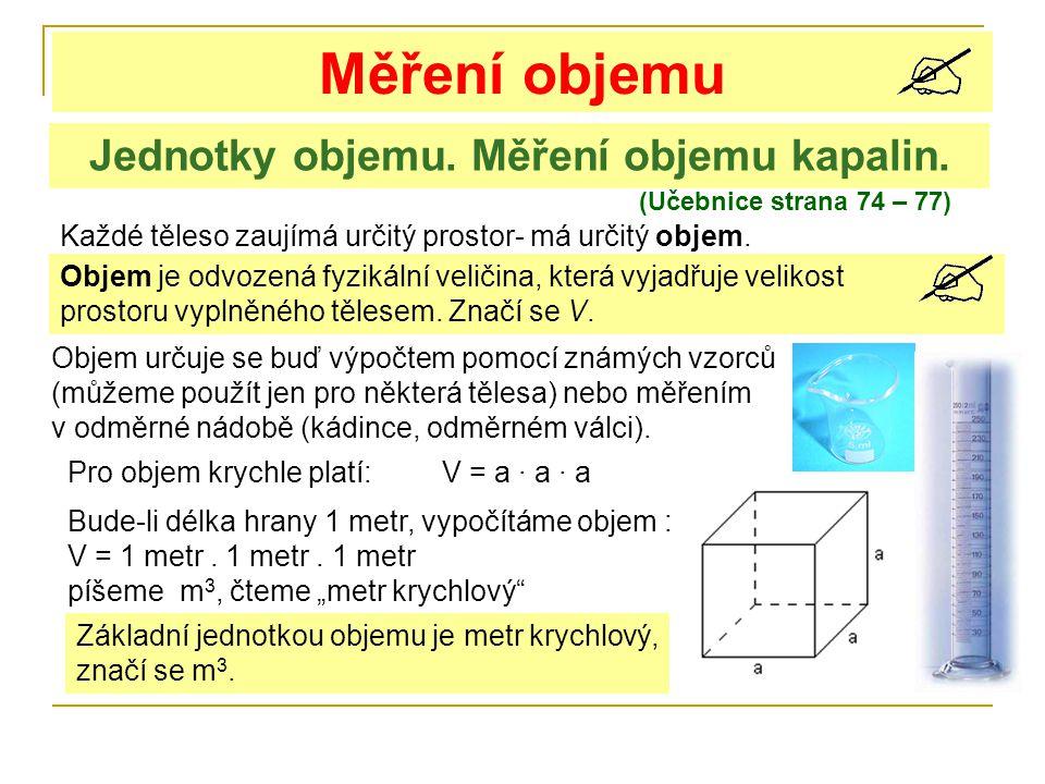 Měření objemu (Učebnice strana 74 – 77) Jednotky objemu. Měření objemu kapalin. Každé těleso zaujímá určitý prostor- má určitý objem. Objem je odvozen