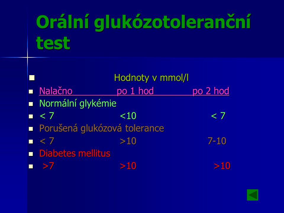 Orální glukózotoleranční test Hodnoty v mmol/l Hodnoty v mmol/l Nalačno po 1 hod po 2 hod Nalačno po 1 hod po 2 hod Normální glykémie Normální glykémie < 7 <10 < 7 < 7 <10 < 7 Porušená glukózová tolerance Porušená glukózová tolerance 10 7-10 10 7-10 Diabetes mellitus Diabetes mellitus >7 >10 >10 >7 >10 >10