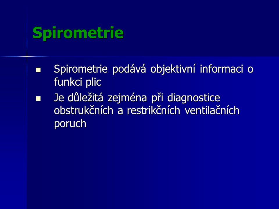 Spirometrie Spirometrie podává objektivní informaci o funkci plic Spirometrie podává objektivní informaci o funkci plic Je důležitá zejména při diagnostice obstrukčních a restrikčních ventilačních poruch Je důležitá zejména při diagnostice obstrukčních a restrikčních ventilačních poruch