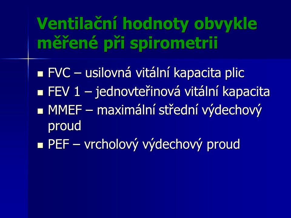 Ventilační hodnoty obvykle měřené při spirometrii FVC – usilovná vitální kapacita plic FVC – usilovná vitální kapacita plic FEV 1 – jednovteřinová vitální kapacita FEV 1 – jednovteřinová vitální kapacita MMEF – maximální střední výdechový proud MMEF – maximální střední výdechový proud PEF – vrcholový výdechový proud PEF – vrcholový výdechový proud
