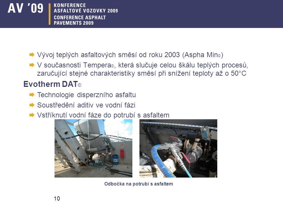 10  Vývoj teplých asfaltových směsí od roku 2003 (Aspha Min © )  V současnosti Tempera ©, která slučuje celou škálu teplých procesů, zaručující stejné charakteristiky směsí při snížení teploty až o 50°C Evotherm DAT ©  Technologie disperzního asfaltu  Soustředění aditiv ve vodní fázi  Vstříknutí vodní fáze do potrubí s asfaltem Odbočka na potrubí s asfaltem