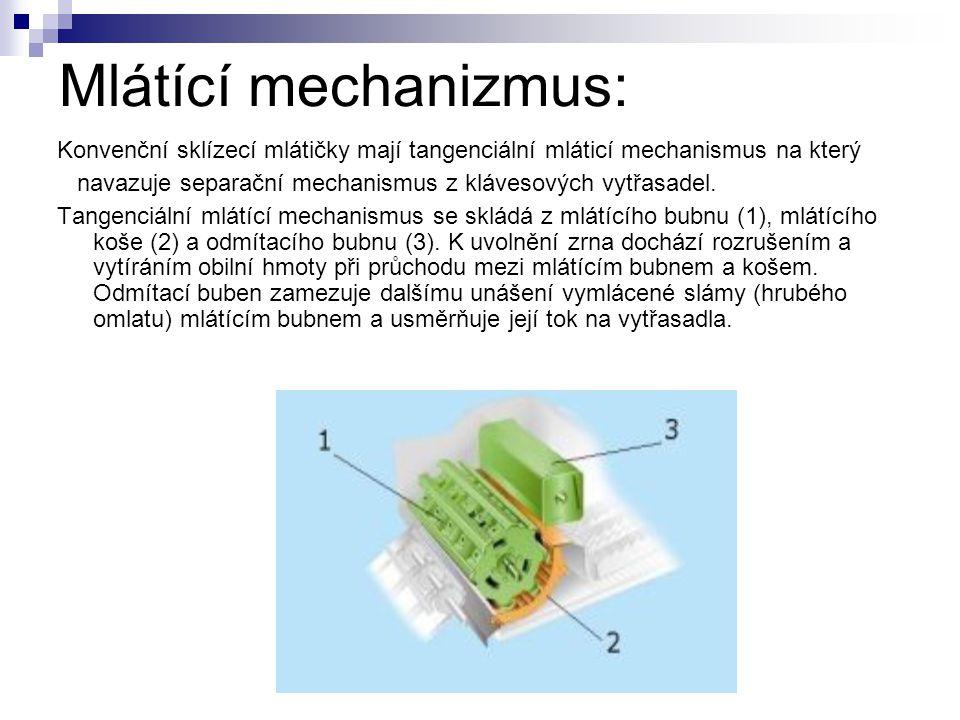 Mlátící mechanizmus: Konvenční sklízecí mlátičky mají tangenciální mláticí mechanismus na který navazuje separační mechanismus z klávesových vytřasade