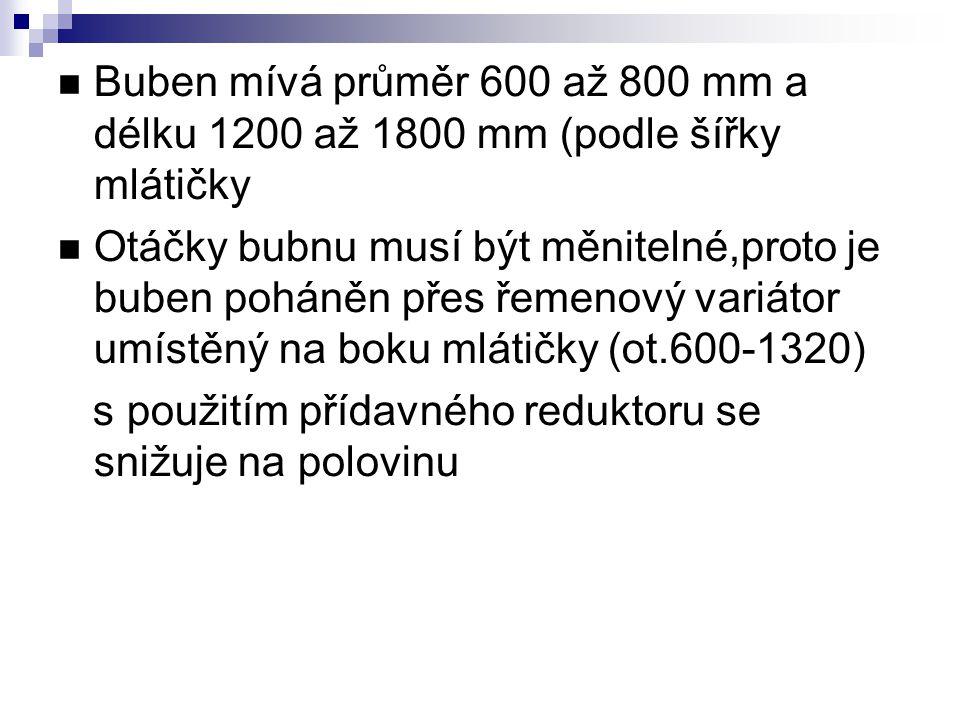 Buben mívá průměr 600 až 800 mm a délku 1200 až 1800 mm (podle šířky mlátičky Otáčky bubnu musí být měnitelné,proto je buben poháněn přes řemenový var