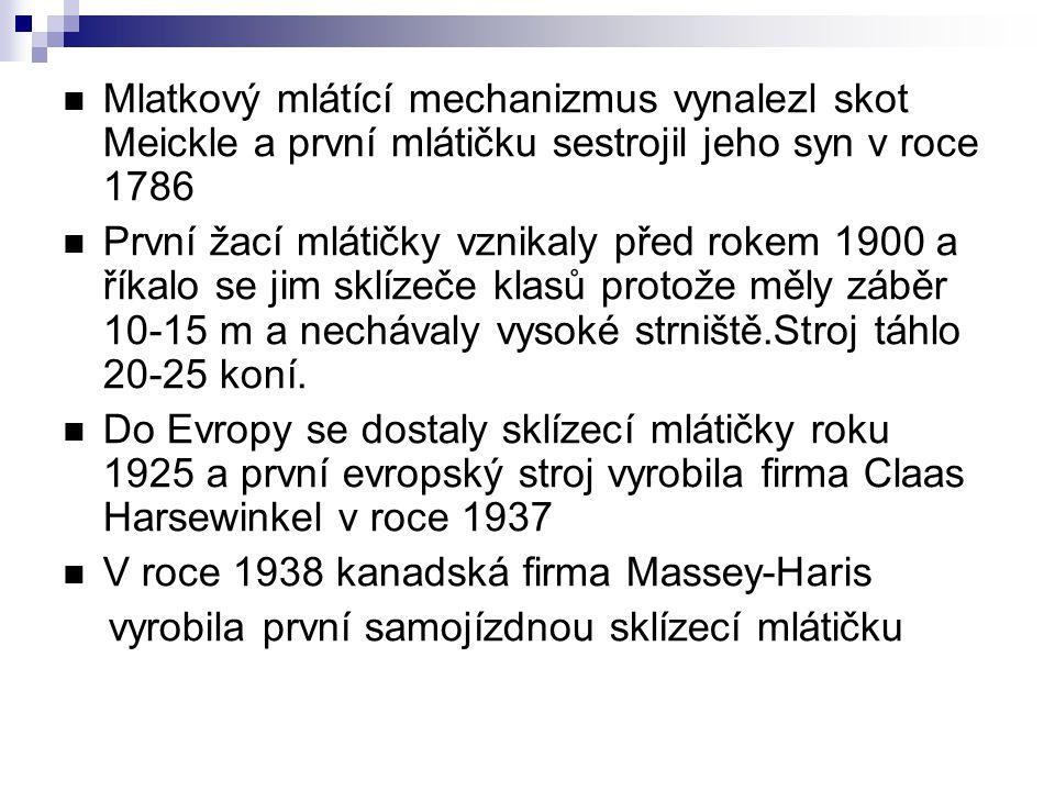 Do ČR byly dovezeny první sklízecí mlátičky po roce 1945.Většího rozšíření doznaly stroje typu S-6 dovezené ze SSSR(vybaveny motorem o výkonu 30kW o záběru lišty 4,9m a šířku mlátičky pouze 0,65m) V letech 1956-57 vyráběl Agrostroj Prostějov samojízdné sklízecí mlátičky ŽM-330 se záběrem 3,3m U nás pracovaly především stroje z NDR,SSSR a Maďarska