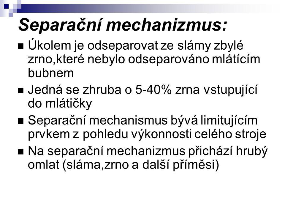 Separační mechanizmus: Úkolem je odseparovat ze slámy zbylé zrno,které nebylo odseparováno mlátícím bubnem Jedná se zhruba o 5-40% zrna vstupující do