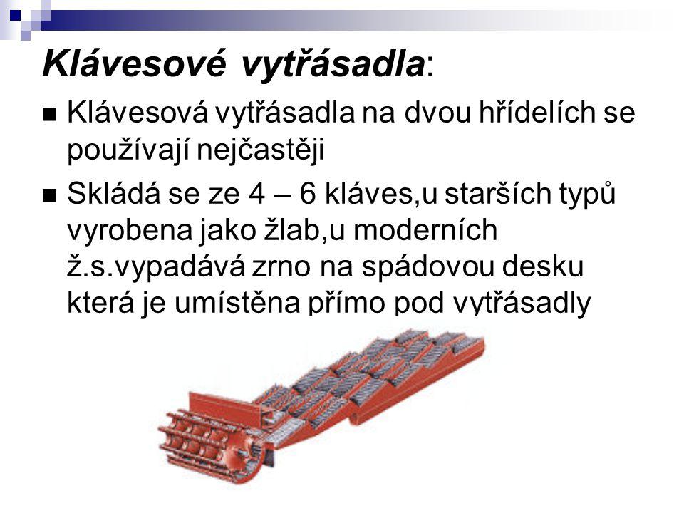 Klávesové vytřásadla: Klávesová vytřásadla na dvou hřídelích se používají nejčastěji Skládá se ze 4 – 6 kláves,u starších typů vyrobena jako žlab,u mo