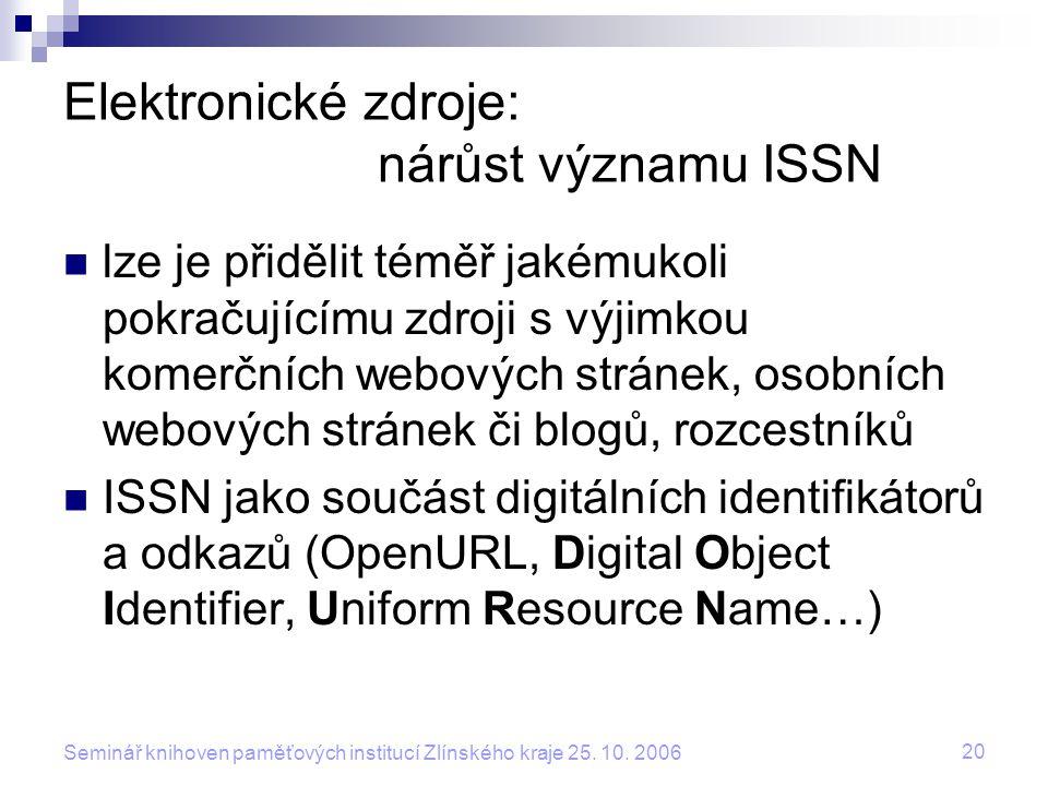 20 Seminář knihoven paměťových institucí Zlínského kraje 25. 10. 2006 Elektronické zdroje: nárůst významu ISSN lze je přidělit téměř jakémukoli pokrač