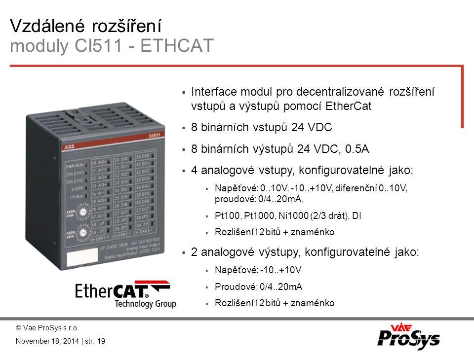 Vzdálené rozšíření moduly CI511 - ETHCAT  Interface modul pro decentralizované rozšíření vstupů a výstupů pomocí EtherCat  8 binárních vstupů 24 VDC