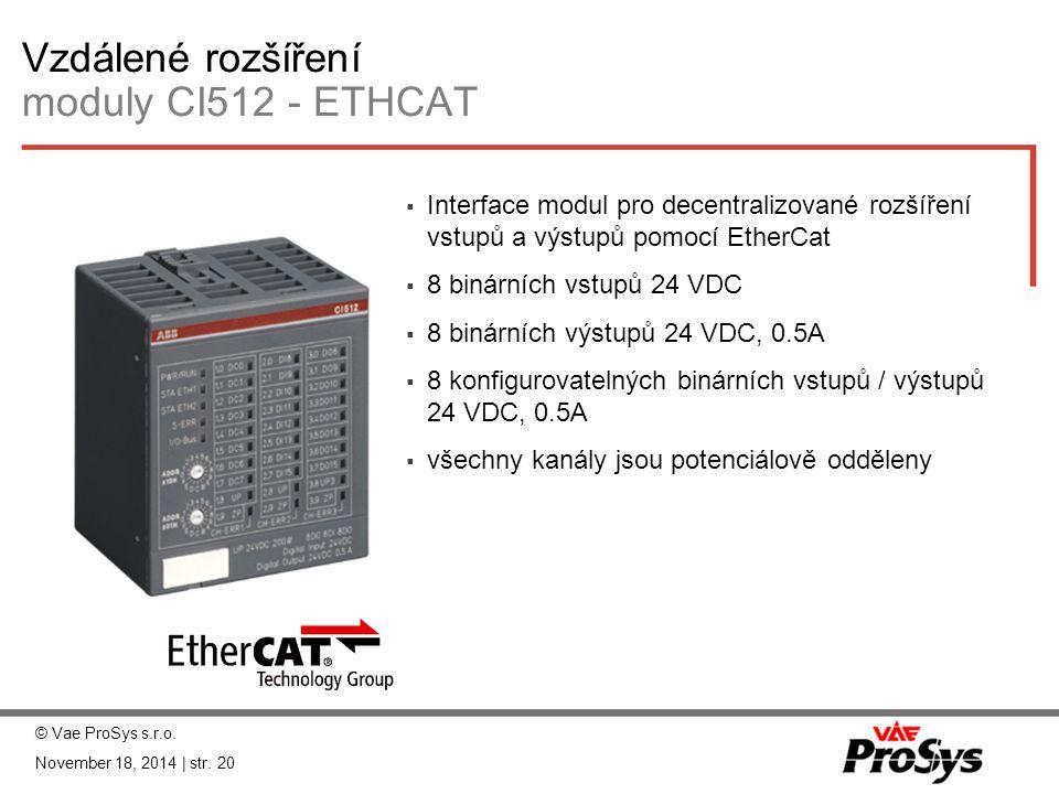Vzdálené rozšíření moduly CI512 - ETHCAT  Interface modul pro decentralizované rozšíření vstupů a výstupů pomocí EtherCat  8 binárních vstupů 24 VDC