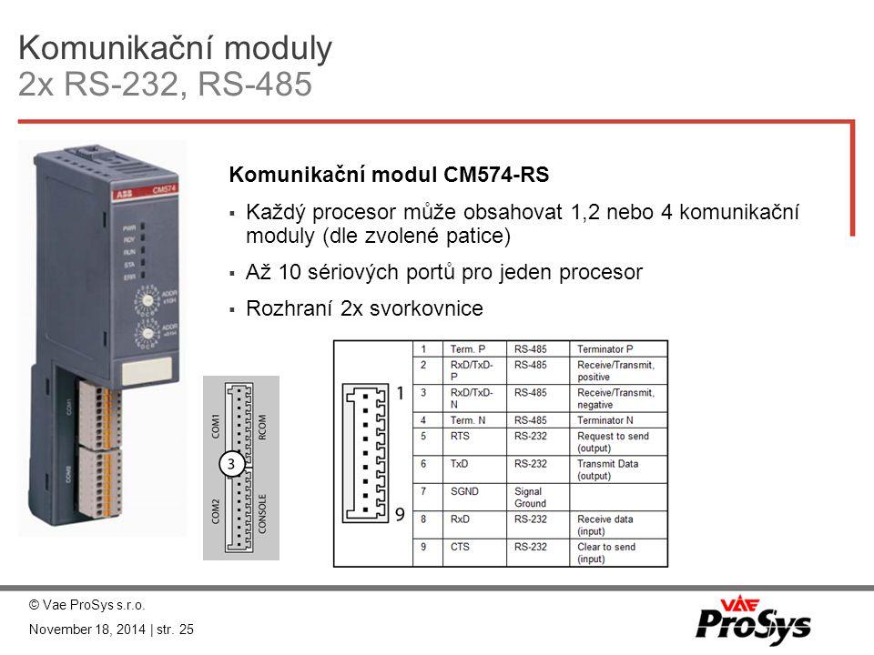 Komunikační moduly 2x RS-232, RS-485 Komunikační modul CM574-RS  Každý procesor může obsahovat 1,2 nebo 4 komunikační moduly (dle zvolené patice)  A