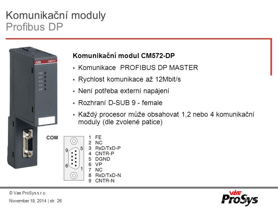 Komunikační moduly Profibus DP Komunikační modul CM572-DP  Komunikace PROFIBUS DP MASTER  Rychlost komunikace až 12Mbit/s  Není potřeba externí nap