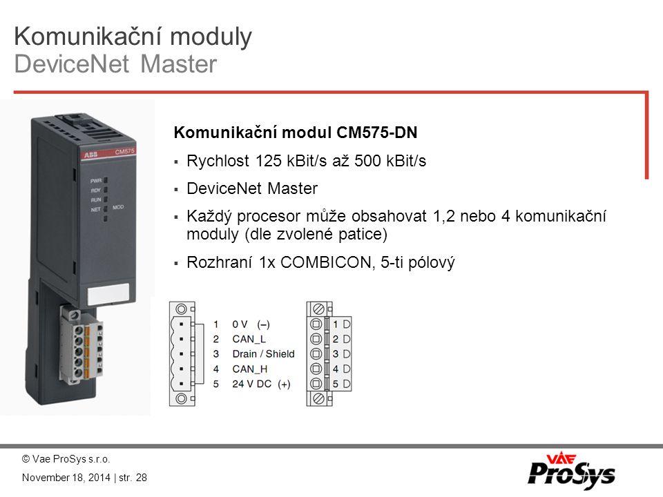Komunikační moduly DeviceNet Master Komunikační modul CM575-DN  Rychlost 125 kBit/s až 500 kBit/s  DeviceNet Master  Každý procesor může obsahovat