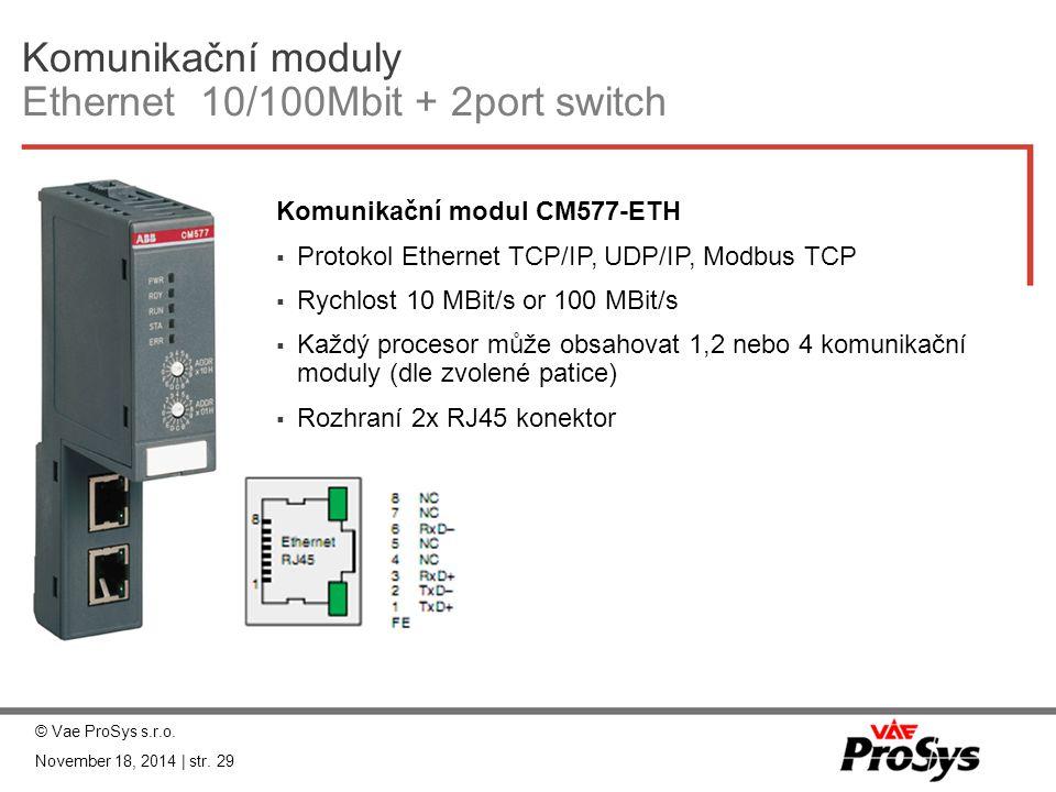 Komunikační moduly Ethernet 10/100Mbit + 2port switch Komunikační modul CM577-ETH  Protokol Ethernet TCP/IP, UDP/IP, Modbus TCP  Rychlost 10 MBit/s