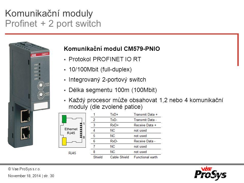 Komunikační moduly Profinet + 2 port switch Komunikační modul CM579-PNIO  Protokol PROFINET IO RT  10/100Mbit (full-duplex)  Integrovaný 2-portový