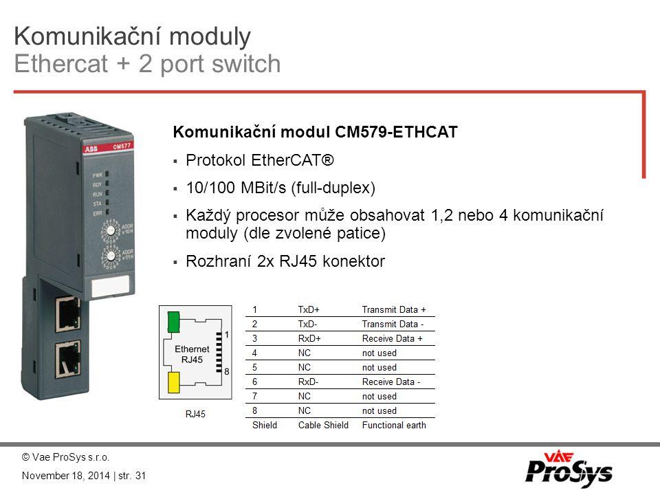 Komunikační moduly Ethercat + 2 port switch Komunikační modul CM579-ETHCAT  Protokol EtherCAT®  10/100 MBit/s (full-duplex)  Každý procesor může ob