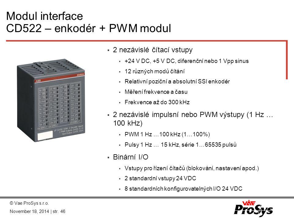 Modul interface CD522 – enkodér + PWM modul  2 nezávislé čítací vstupy  +24 V DC, +5 V DC, diferenční nebo 1 Vpp sinus  12 různých modů čítání  Re