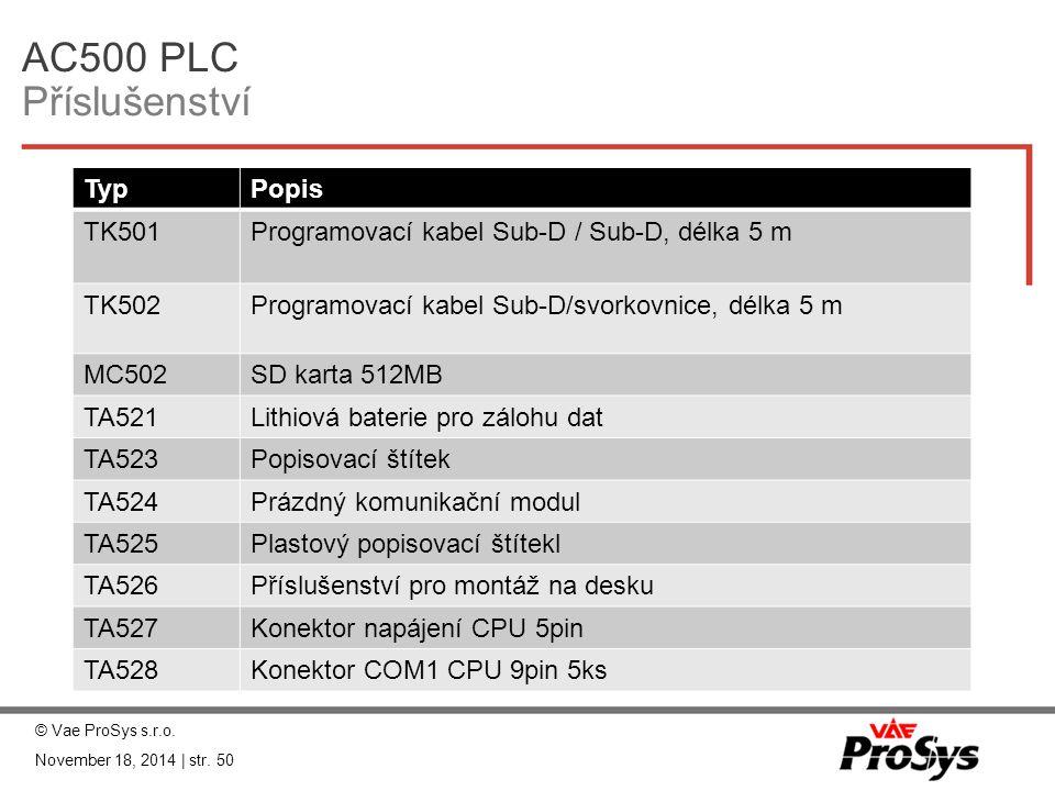 AC500 PLC Příslušenství TypPopis TK501Programovací kabel Sub-D / Sub-D, délka 5 m TK502Programovací kabel Sub-D/svorkovnice, délka 5 m MC502SD karta 5