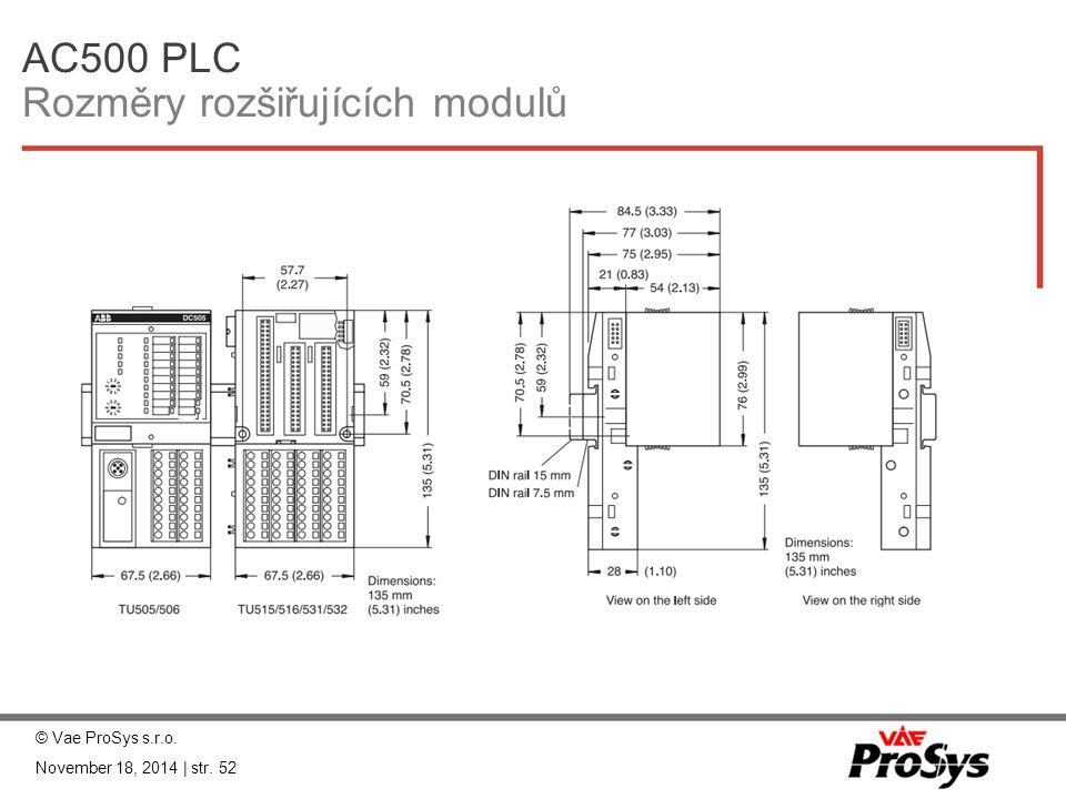 AC500 PLC Rozměry rozšiřujících modulů © Vae ProSys s.r.o. November 18, 2014 | str. 52
