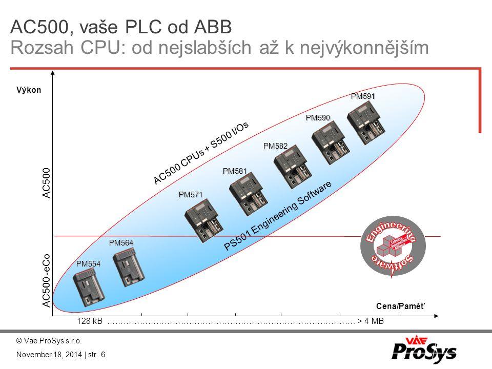 Speciální moduly DC541-CM  Modul přerušení nebo rychlý čítač pro 24V signály  Modul přerušení  reakce na přerušení do 100μs  Reakční čas do 500 μs (čas mezi čtením vstupu a zapsáním hodnoty na výstupu)  Samostatně konfigurovatelné kanály  Obousměrný čítač (UP, DOWN) s frekvencí 50kHz, 5kHz a 2,5kHz  Rychlý čítač otáček  32bit čítač se znaménkem  PWM modul s rozlišením 10kHz  Měření času mezi pulzy a frekvence s rozlišením 50 μs © Vae ProSys s.r.o.