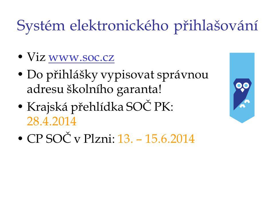 Systém elektronického přihlašování Viz www.soc.czwww.soc.cz Do přihlášky vypisovat správnou adresu školního garanta! Krajská přehlídka SOČ PK: 28.4.20