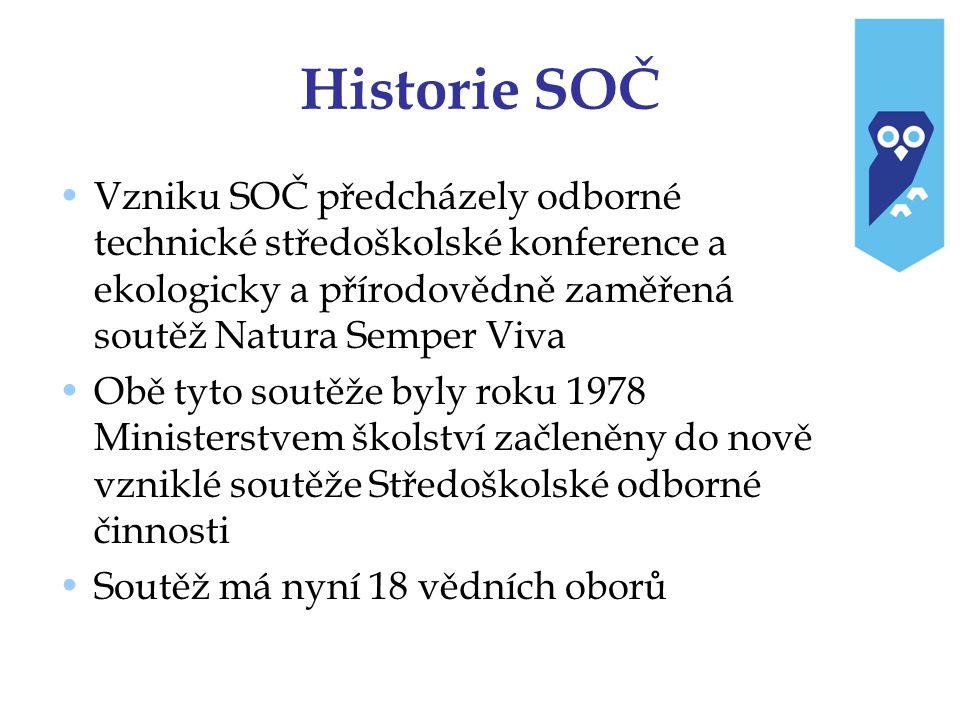 Historie SOČ Vzniku SOČ předcházely odborné technické středoškolské konference a ekologicky a přírodovědně zaměřená soutěž Natura Semper Viva Obě tyto