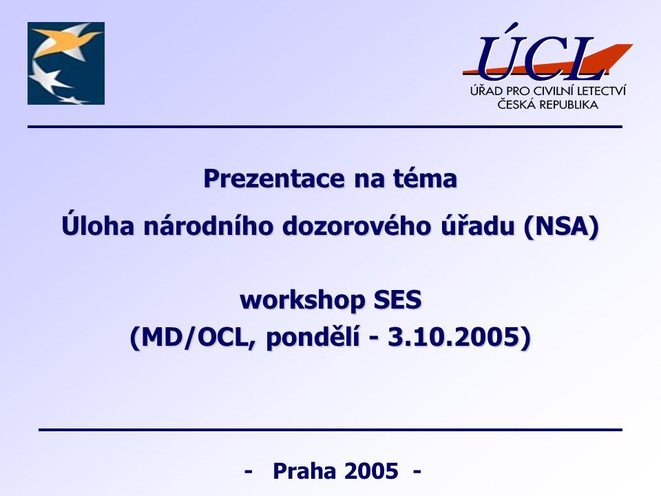 - Praha 2005 - Prezentace na téma Úloha národního dozorového úřadu (NSA) workshop SES (MD/OCL, pondělí - 3.10.2005)