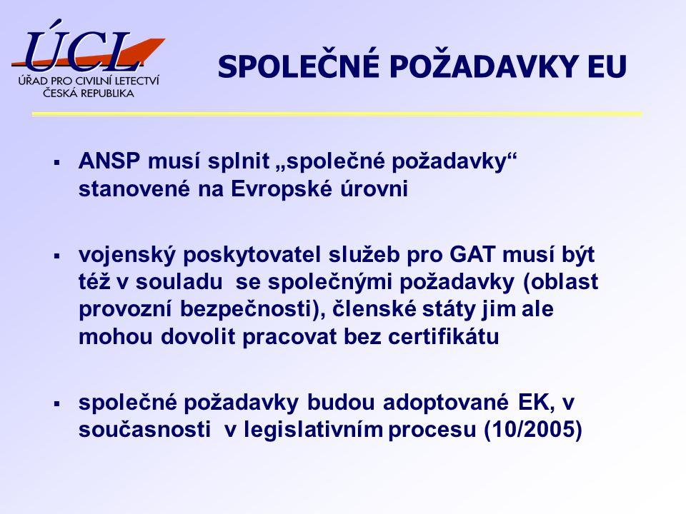 """ ANSP musí splnit """"společné požadavky stanovené na Evropské úrovni  vojenský poskytovatel služeb pro GAT musí být též v souladu se společnými požadavky (oblast provozní bezpečnosti), členské státy jim ale mohou dovolit pracovat bez certifikátu  společné požadavky budou adoptované EK, v současnosti v legislativním procesu (10/2005) SPOLEČNÉ POŽADAVKY EU"""