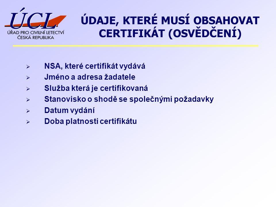  NSA, které certifikát vydává  Jméno a adresa žadatele  Služba která je certifikovaná  Stanovisko o shodě se společnými požadavky  Datum vydání  Doba platnosti certifikátu ÚDAJE, KTERÉ MUSÍ OBSAHOVAT CERTIFIKÁT (OSVĚDČENÍ)