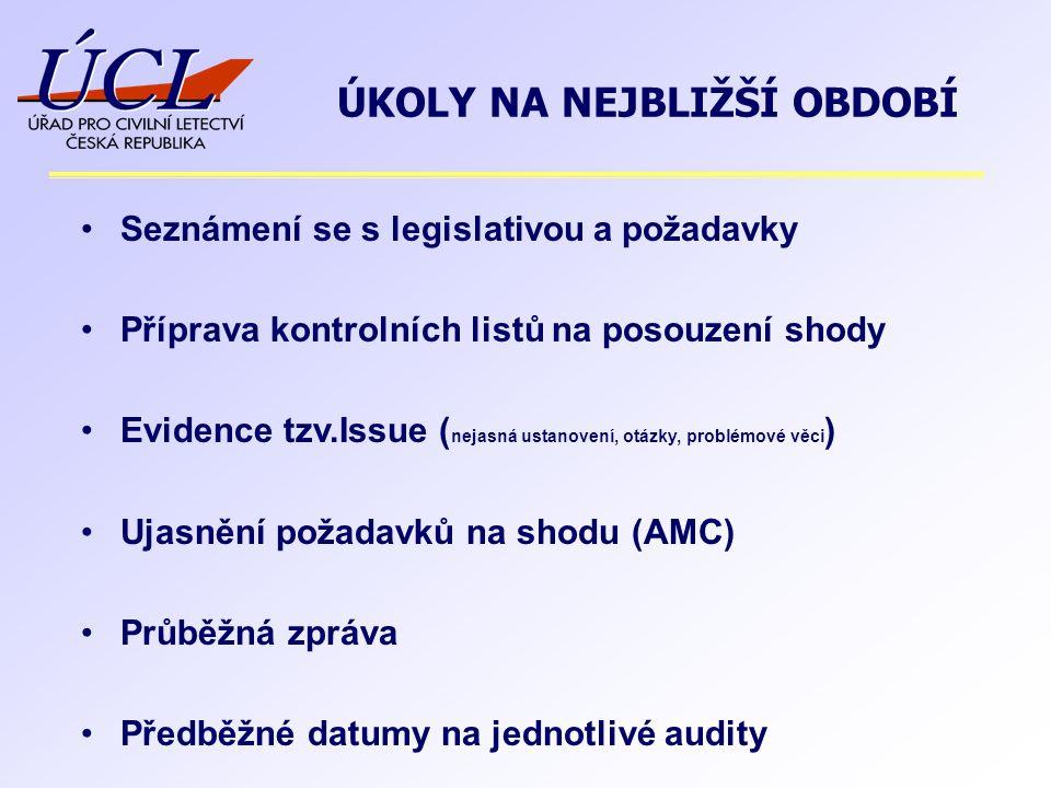 Seznámení se s legislativou a požadavky Příprava kontrolních listů na posouzení shody Evidence tzv.Issue ( nejasná ustanovení, otázky, problémové věci